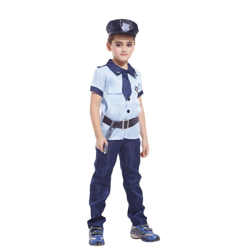 2018 Boys Police Halloween Cosplay Costumes Cops Performance Wear Kids Kotwal Uniform Children Set