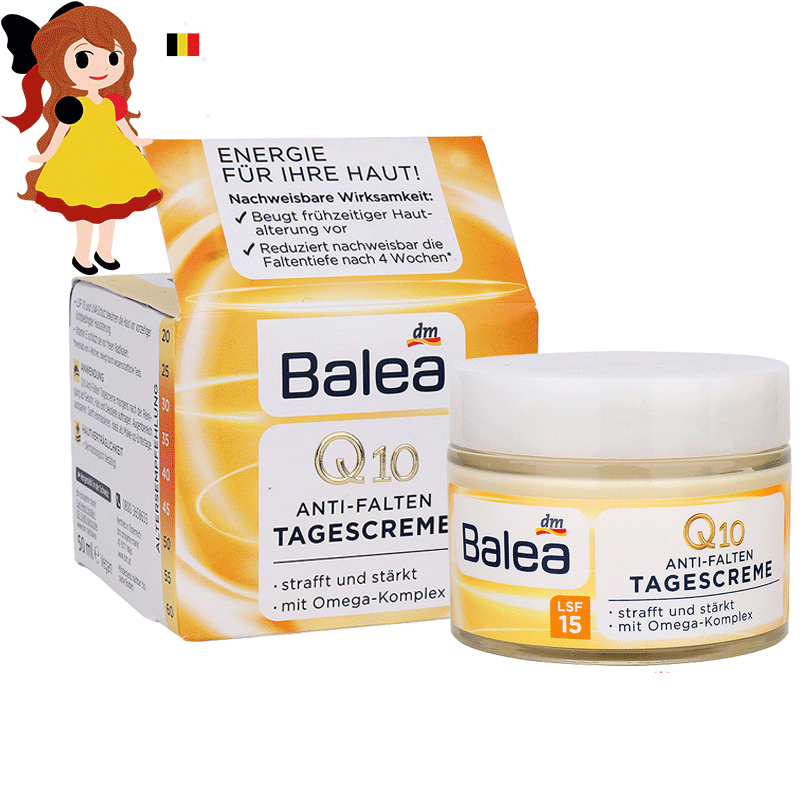 Germany Balea Q10 Anti-wrinkle Day Cream LSF15/30 Vitamin E Cream protects skin from free radicals Day Care moisture cream Vegan цены
