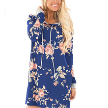 Long Hoodie Sweatshirt Womens Shirt Print Floral Hoody Sweatshirt Pullover Overalls For Women 2017 Autumn WS1760Z