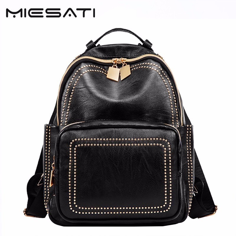 MIESATI Backpacks For Teenage Girls Women's PU Leather Backpack School Bag Casual Vintage Large Capacity Travel Backpack Female brand women backpack pu leather school backpacks for teenage girls shoulder bag large capacity travel bags