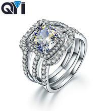 Qyi обручальные кольца 925 пробы серебро 3 карат огранка кушон