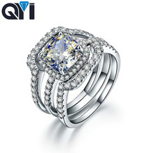 QYI Engagement Rings 925 Sterling Silver 3 Ct Cushion Cut Sona Simulated Diamond Lady Bridal Ring Jewelry Gifts