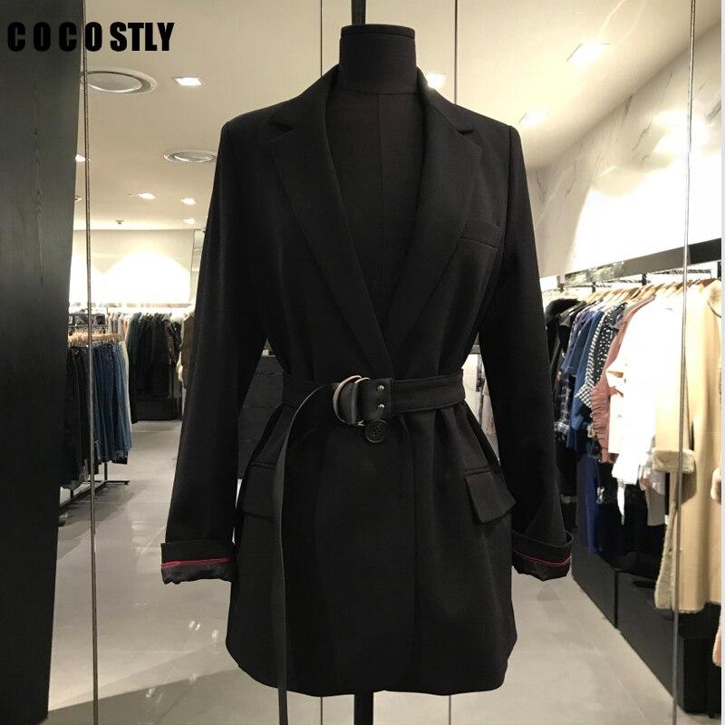 2019 Autumn Korean Blazer Women Casual Belt Female Vintage Blazer Coats OL Office Lady Long Sleeve Black Jacket Coats