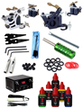 Professional Complete Tattoo Kit 2 Top Tattoo Machine Gun 6 Bottle Black Inks Dual Tattoo Power Supply