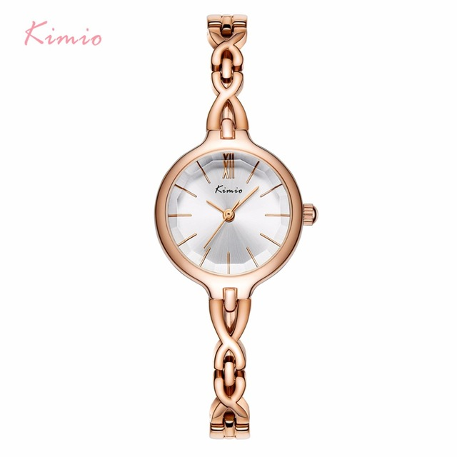 KIMIO Women Wristwatches Full Stainless Steel Bracelet Watch Hollow Pointer Japanese Movement Ladies Quartz Watch Reloj Mujer