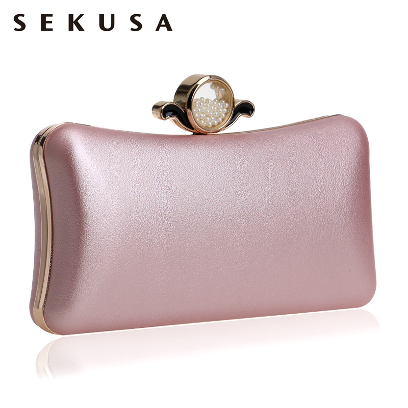 SEKUSA Fashion Pu Women Clutch Chain Shoulder Messenger Bag Eye Beading Metal Diamonds Evening Bag For Wedding Party Handbags sekusa pu fashion women diamonds luxurious evening bags clutch messenger shoulder chain handbags purse beaded wedding bag