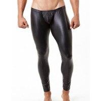 Sexy men's leather tights buttocks mens see through pants erotic men latex pants man male pleasure elastic waist gay leggings