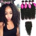 8A Peruvian Deep Wave With Closure 4 Bundles Peruvian Virgin Hair With Closure Deep Curly Virgin Human Hair Bundles With Closure