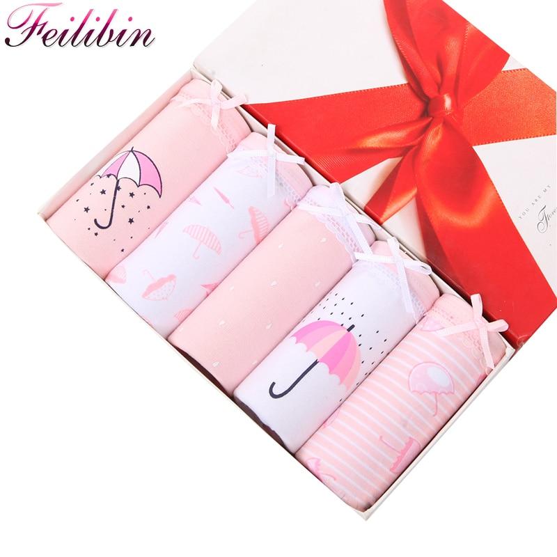 Feilibin 5ks / lot Dámské kalhotky Comfort Bavlna Bezproblémové Dívky Krásné Tiskové kalhotky Prodyšné Ženy Sexy spodní prádlo Spodní prádlo