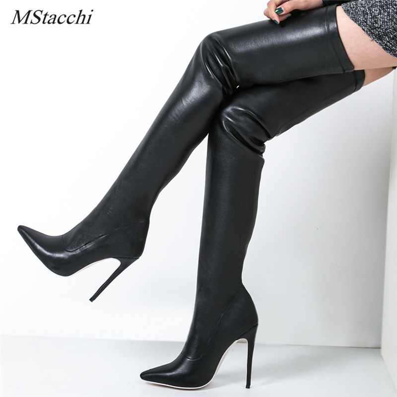 Mstacchi Brand Autumn Winter Women Boots Long Stretch Slim Thigh High Boots Fashion Over the Knee Boots High Heels Shoes Woman fedonas top fashion women winter over knee long boots women sper thin high heels autumn comfort stretch height boots shoes woman