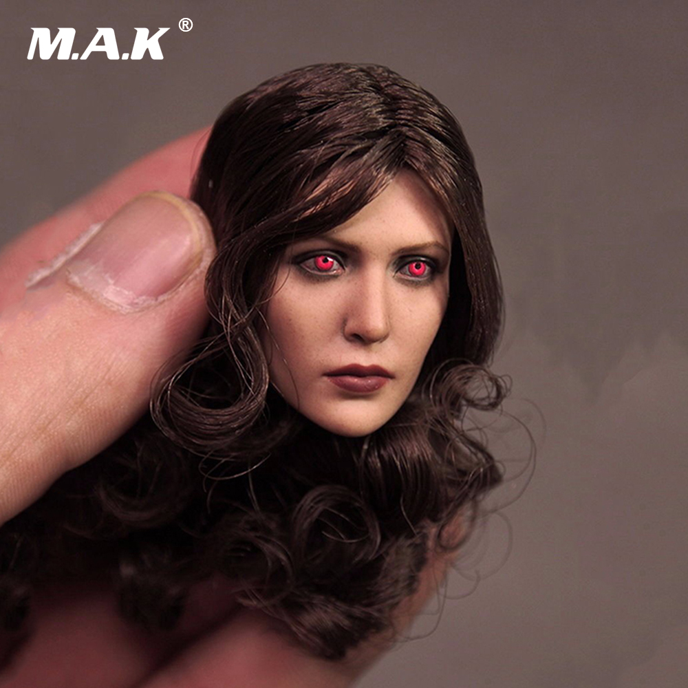 1:6 Scale Female Head Sculpt Scarlet Witch Red Eye Edition Elizabeth Olson Head Carving Model for 12 Female Body Figure