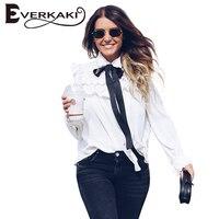 Everkaki Women Office Ladies Chiffon Blouse Shirts Lace Up Bow Ruffles White Elegant Blouses Female 2017
