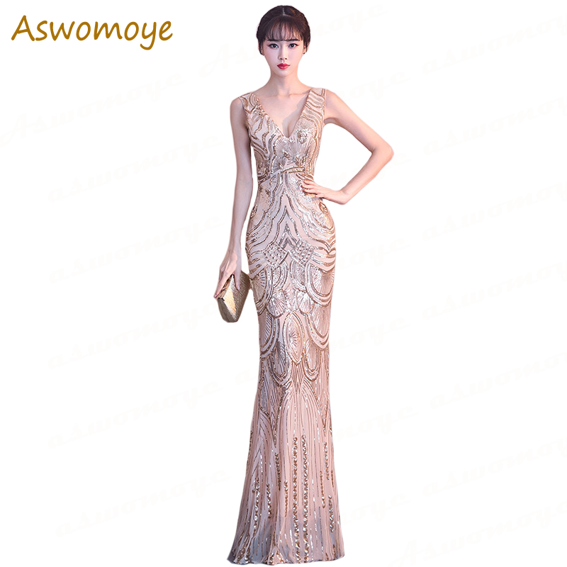 Golden Sequins Beading   Evening     Dresses   Mermaid Long Formal Prom Party   Dress   2019 New Style Robe De Soiree Haute Couture