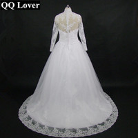 High Neck IIIusion Back Long Sleeve Wedding Dress 2016 Lace Ball Gown Wedding Gowns Plus Size