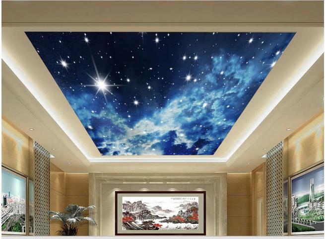 3d Sky Ceiling Wallpaper Papel De Parede Modern Three Dimensional Zenith Sky