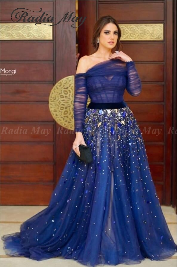 Elegant Off Shoulder Royal Blue Dubai Evening Dress Long Sleeves Beaded Sequin Saudi Arabic Long Engagement Dresses Prom Gowns