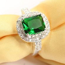New Product Women's Green Zircon Silver Plated Ring Fashion Wedding Bague Jewelr