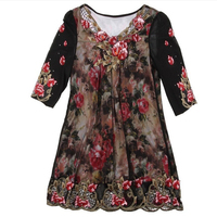 New 2016 T Shirt Middle Aged Women High Quality Short Sleeve Print T Shirt Embroidery Slim