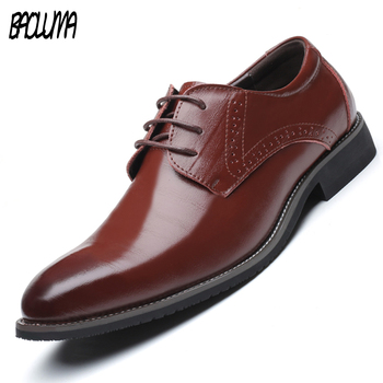 BAOLUMA Men Pointy  Dress Shoes Formal Leather Luxury Fashion Groom Wedding Shoes Men Oxford Shoes Dress Large Sizes 38-48