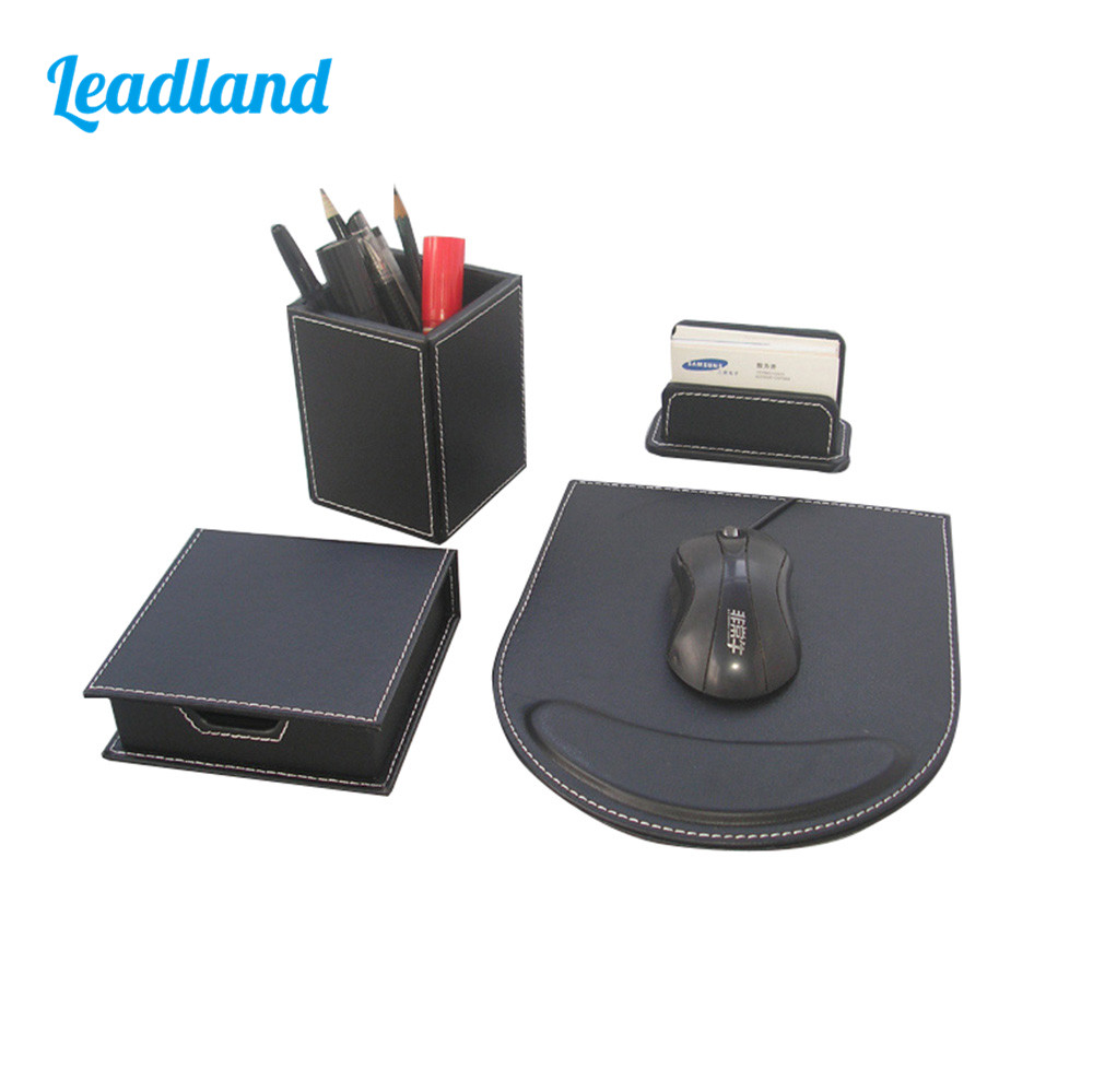 Elegant 4Pcs Office Desktop Organizer Supplies Wooden Structure Black Leather Cover Pencil Case Card Holder Note Holder T95H 9 grids metal mesh desk organizer with drawer colorful student home office new supplies desktop stationiery holder