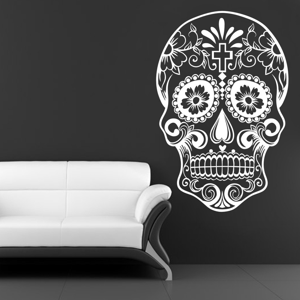 Buy mexican sugar skull office stickers for Dia de los muertos mural
