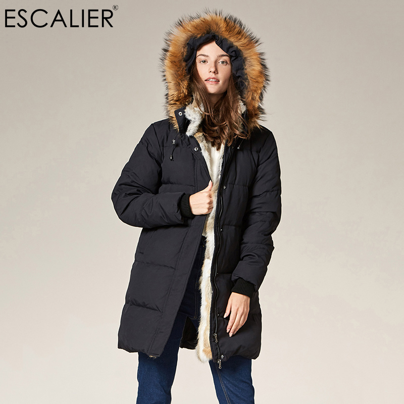 Escalier Women's   Down     Coat   with Real Raccoon Fur Hooded   Down   Jacket 2018 Winter Windproof waterproof Duck   Down   Jacket Female