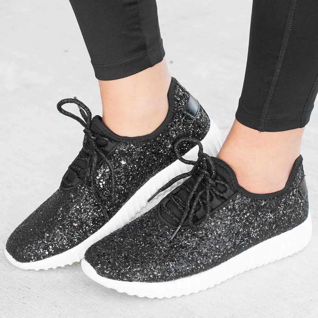 8e6c4a63f2 2019 Sequins Women Vulcanize Bling Shoes Woman Plus Size Soft Flat ...