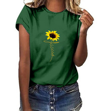 лучшая цена Women  Plus Size Sunflower Print Short Sleeved T-shirt Tops