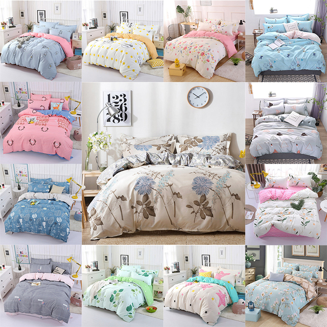 4PCS Duvet Cover Set Fashion Family Bedding Sets Luxury Flat Sheet Bedding Linings Pillowcase Cover Sets, No Filler 2019 Bed Set