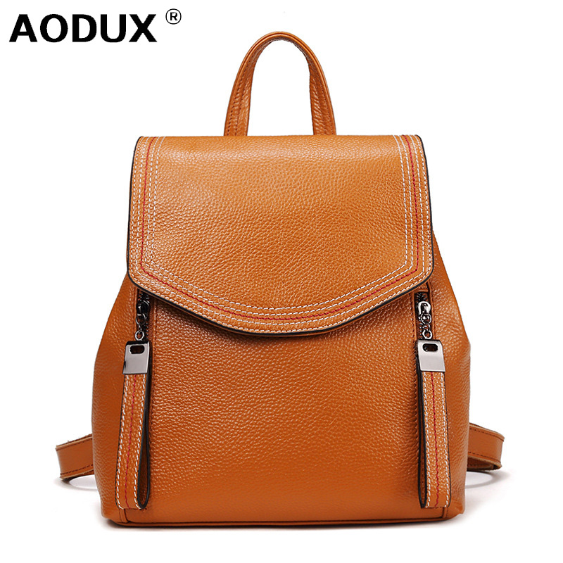 Aodux Fashion 100% Genuine Leather Women Daily Backpack Real First Layer Cow Leather Ladies Backpacks Travel Cowhide Female Bags