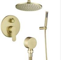 Dofaso латунный черный и золотой набор для душа 8 Rianfall душевая головка смеситель для душа настенный душ celling Arm Diverter Mixer