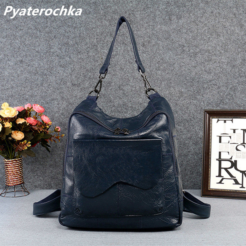 Pyaterochka Genuine Leather Backpack Women Hand Bag Pack Korean Fashion Vintage Luxury Back Bag 2018 Famous Brand Ladies Bagpack twenty four women backpack real genuine leather back pack casual korean style lady travelling bag zipper luxury brand mochila