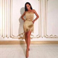 Новое Сексуальное Платье на бретельках с вырезом лодочкой и открытой спиной с бахромой мини женское платье блестящая золотая кисточка вечерние платья Vestido с поясом