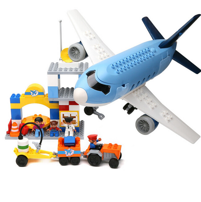 Large Airport Big Plane Building Blocks Educational Toys for Children Kids Gift Compatible with Duplo lepin 02012 city deepwater exploration vessel 60095 building blocks policeman toys children compatible with lego gift kid sets