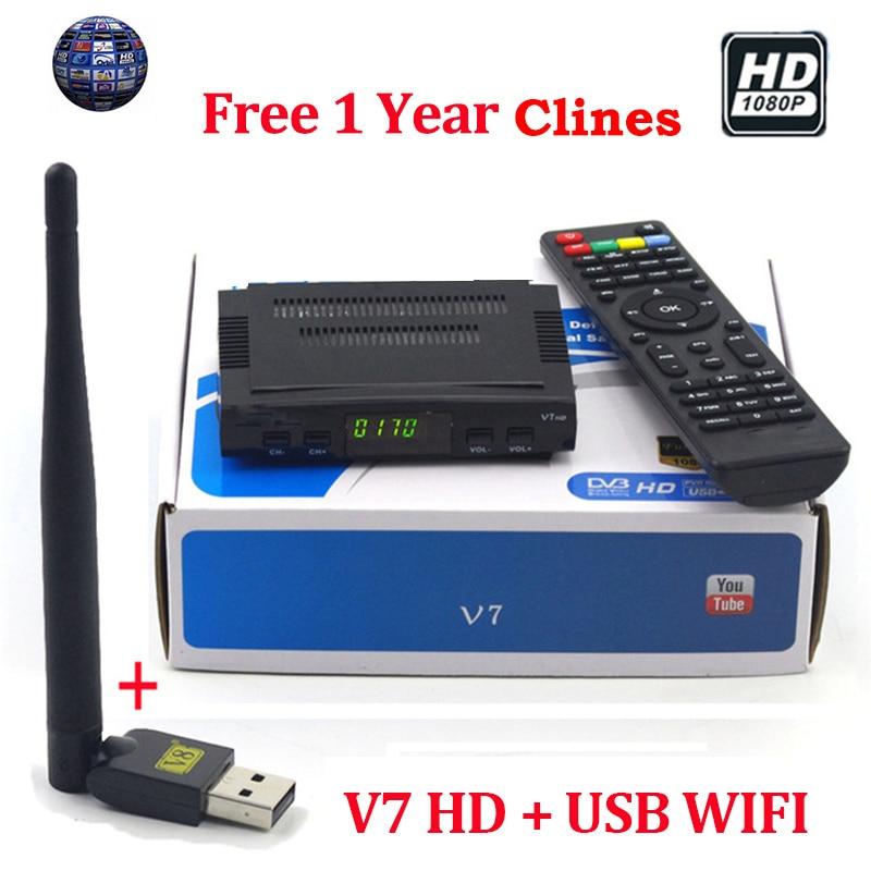 7 Cline für 1 jahr europa V7 Rezeptor DVB-S2 Tuner HD Youtube PowerVU IPTV V7 FTA Digitale PVR Satellitenempfänger