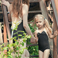 Baby Girls Swimwear Toddler Swimsuit Mother and Daughter Family Biquini Children Kids and Female One piece Black Bathing Suit