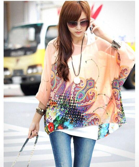 da518b92 Charming Flower print women plus size shirts 2016 new fashion summer blusas  girls tops ladies sheer