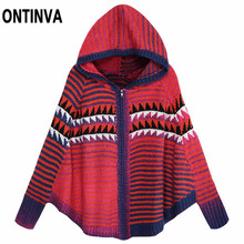 cff0d6f9cd Women Oversized New Knitting Sweater Ponchos Capes Batwing Sleeve Knitted  Cardigans Zipper Casual Fall Winter Pullovers Tops