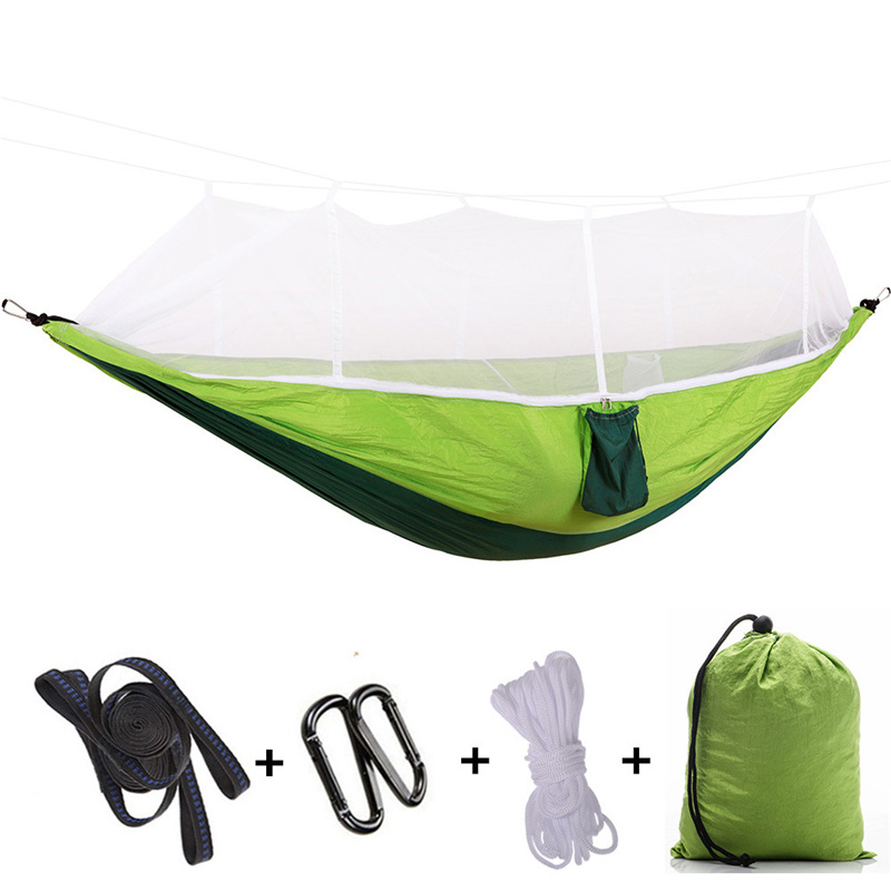 2 Person Outdoor Mosquito Net Parachute Hammock Camping Hanging Sleeping Bed Swing Portable Double Chair Hamac Army Green portable parachute fabric hammock hanging bed with mosquio net sleeping outdoor camping beds