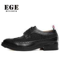 EGE Brand Men Oxfoeds New Arrival Handmade Genuine Leather British Style Leisure Male Flats High Quality