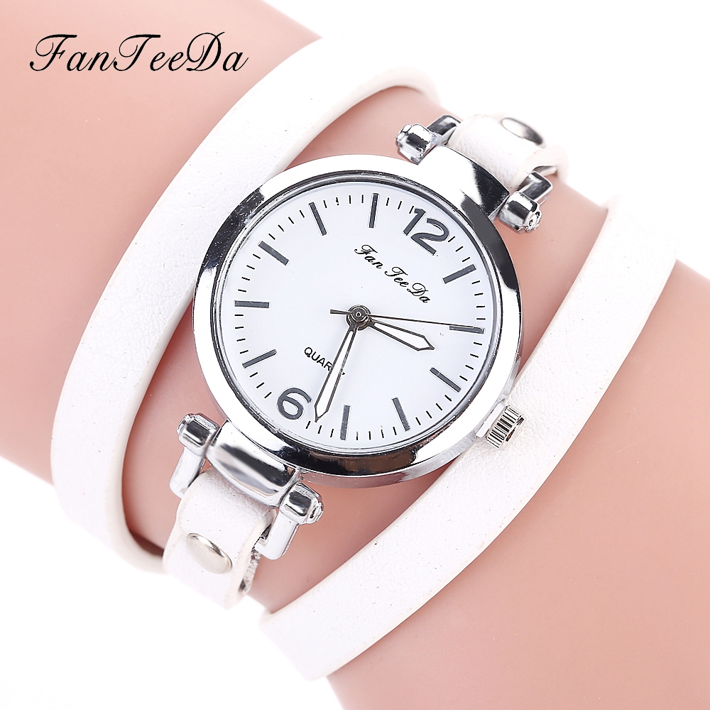 FanTeeDa Brand Hot Selling Fashion Luxury Leather Bracelet Watch Ladies Quartz Casual Women Dress Wrist Watches Relogio Feminino luxury women rhinestone bangle crystal flower bracelet quartz wrist watch men fashion sale hot style selling