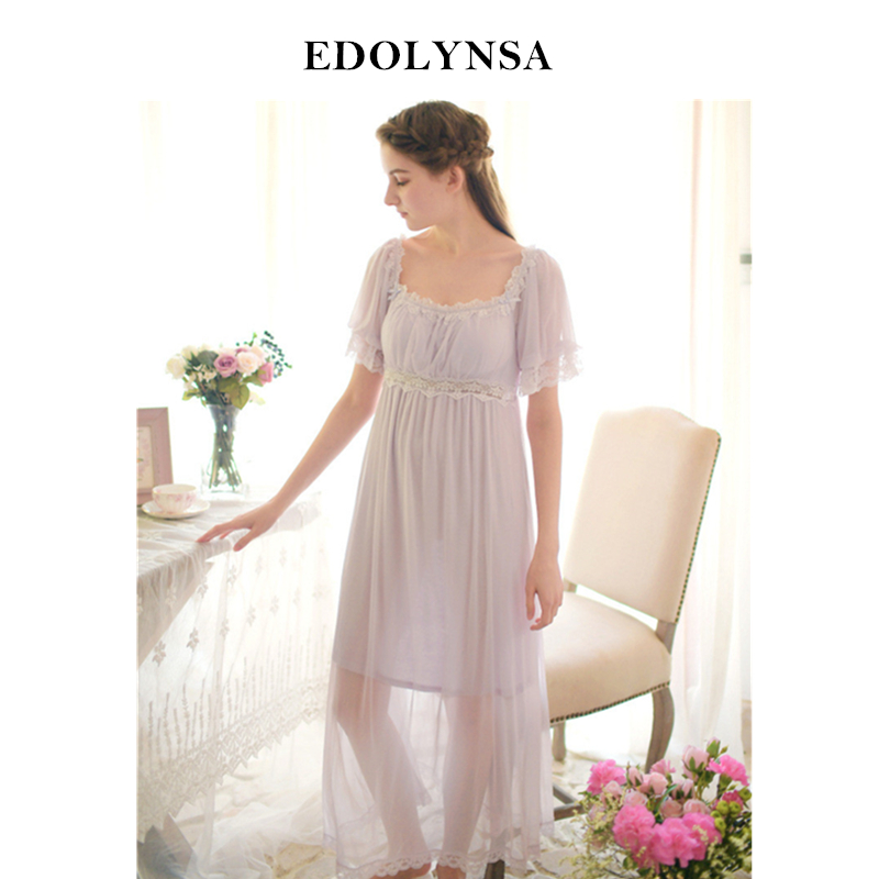 b2feb77c2 Elegant Nightgowns Long White Cotton Night Dress For Wedding Princess  Sleepwear Plus Size Peignoir Women Fancy Loungewear T53