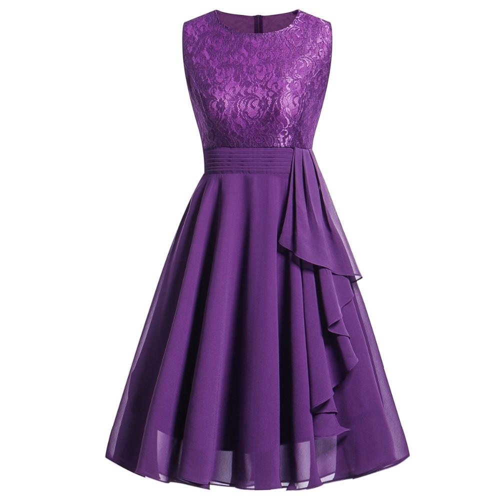 Women's Vintage Sleeveless Ruffles Belt Floral Lace Bridesmaid Chiffon Dress Wedding Party Dresses Vestido de festa Robe Femme