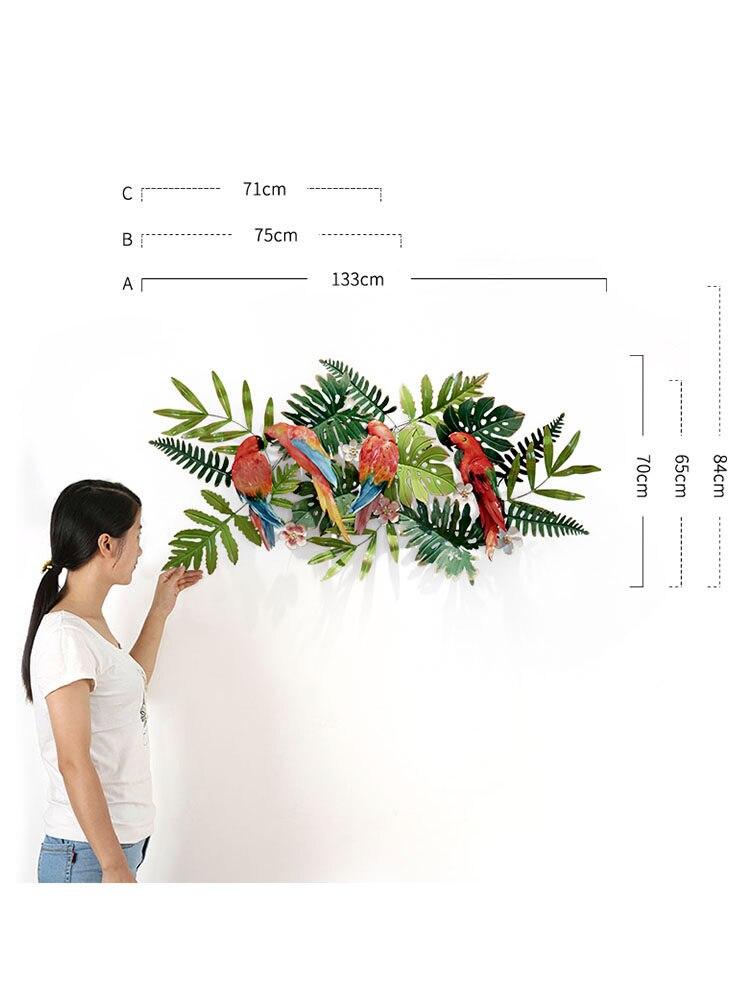 Creatieve Smeedijzeren Tropische Bloemen Vogels Muur Opknoping Ornament Decoratie Thuis Veranda Sofa Achtergrond 3D Muursticker Ambachten - 2