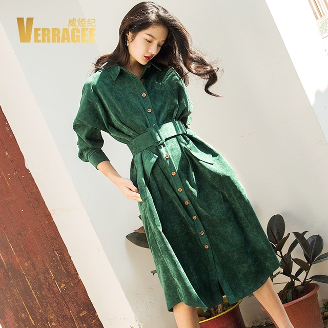 5f7c81d7e32 VERRAGEE Autumn Winter Long Shirt Dress Women 2019 Long Sleeve Green Blue  Color Vintage Dress Pocket with Belt Vestido