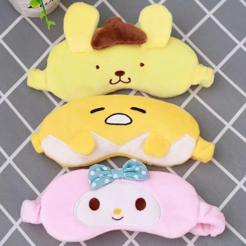 1 pc kawaii plush toy lovely melody pudding dog gudetama Egg soft eyeshade eye mask girls birthday gift crown plush eye mask