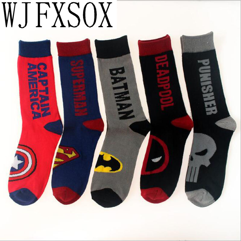 1pair Cotton Men's Socks Of Avenger Union Captain America Superman Batmen Deadpool Punisher Street Tide Skateboard Socks