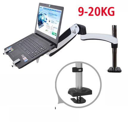 GST112T-LP1 full motion aluminum Strong gas spring dual arm laptop desktop Mount swivel stand grommet hole clamp notebook tray suptek full motion lcd stand desk mount for 10 30 computer monitor with gas spring arm with clamp or grommet desktop suppor