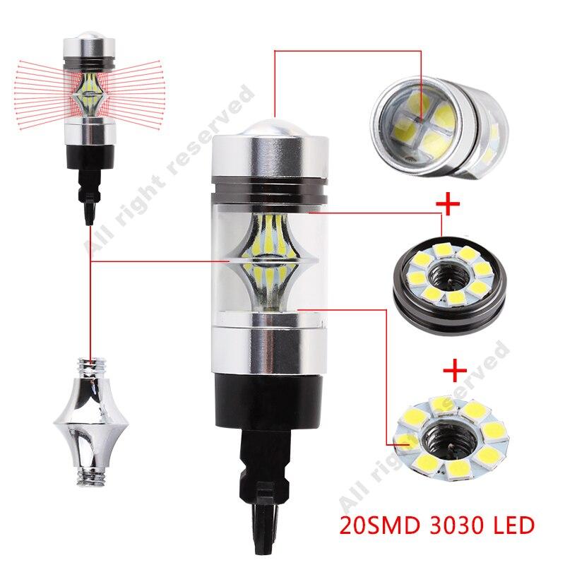 2Pcs 3157 LED Bulb 1100LM P27/7W LED 3156 Car Back Up Reverse Lights Brake Lights Tail Rv light Xenon White 6000K 20SMD 12V D035
