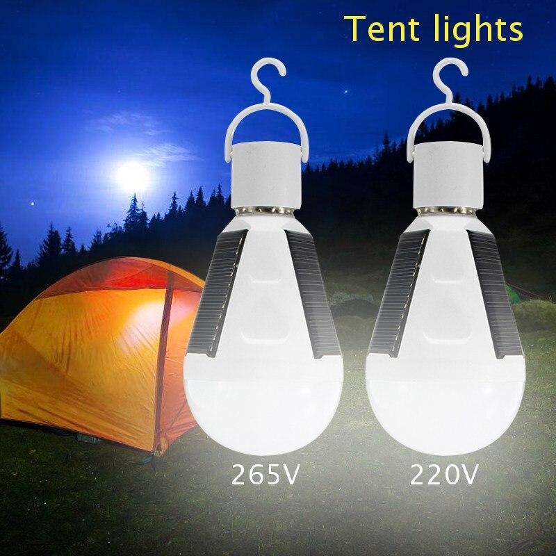 E27 Solarleuchten Led-lampe Hängende Led Solar Lampe 7 Watt 265 V + 220 V Wiederaufladbare für Outdoor Wandern Camping Zelt Angeln Beleuchtung